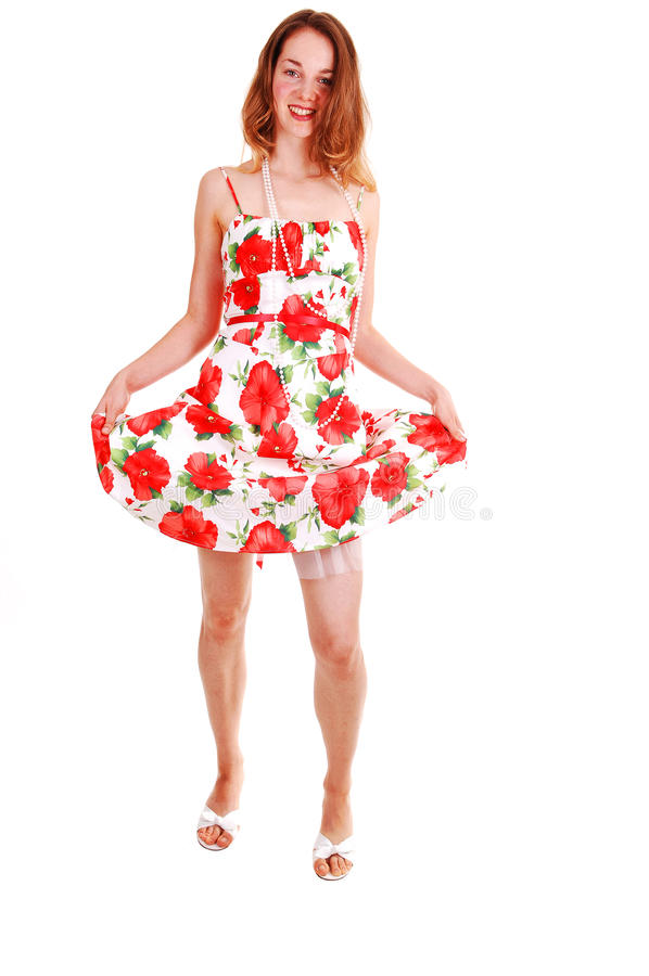 Pretty girl in colorful dress. royalty free stock photography