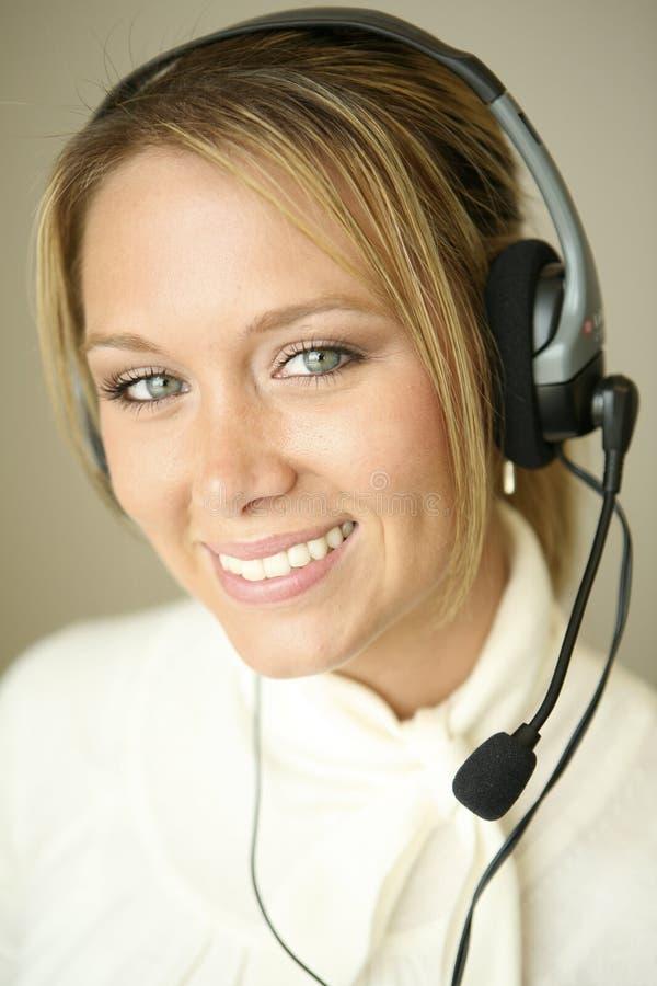 Pretty girl customer service representative royalty free stock photo