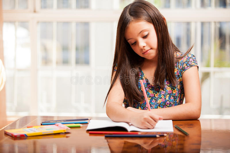 Pretty Girl Doing Some Coloring Stock Image