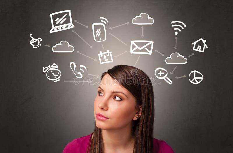 Girl with design thinking concept stock photos