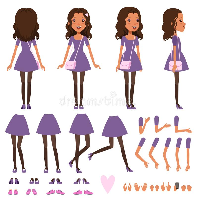 Pretty girl in dress with small handbag for animation. stock illustration