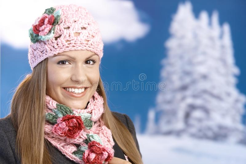 Pretty Girl Dressed Up Warm Enjoying Wintertime Royalty Free Stock Photos