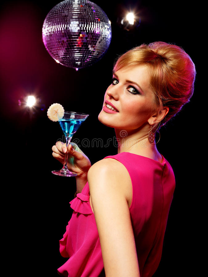 Pretty Girl With A Drink Royalty Free Stock Photography