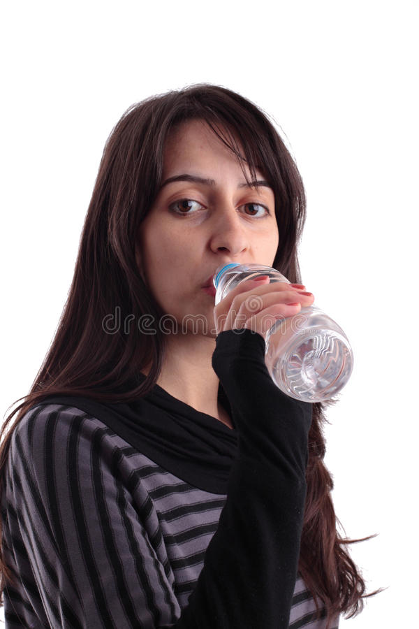 Pretty Girl Drinking Water From A Bottle Stock Photography