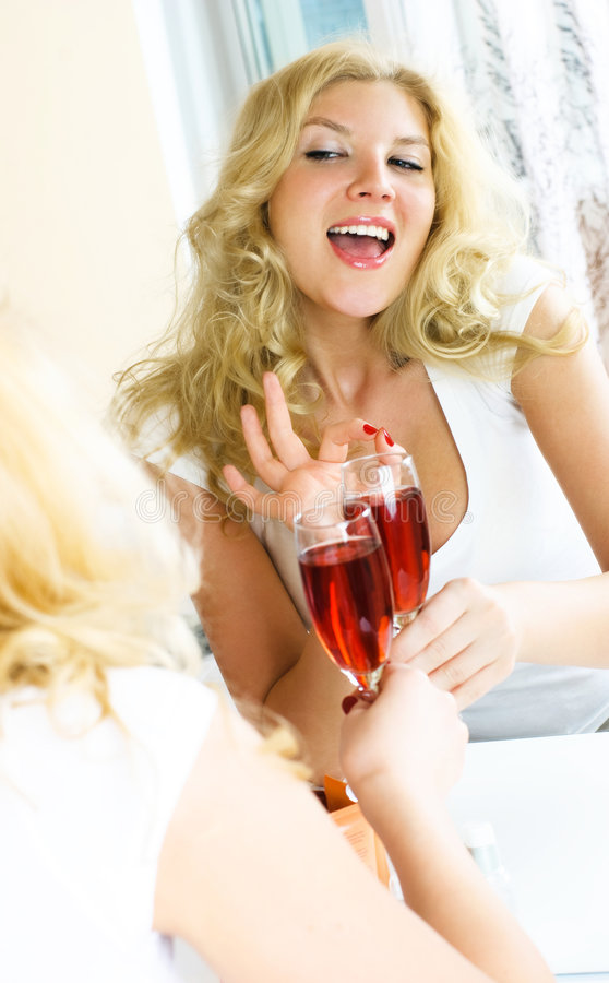 Pretty Girl Drinking Wine Stock Photo