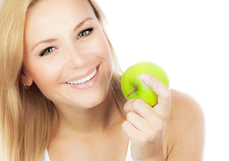 Download Pretty girl eating apple stock image. Image of blond - 29672615