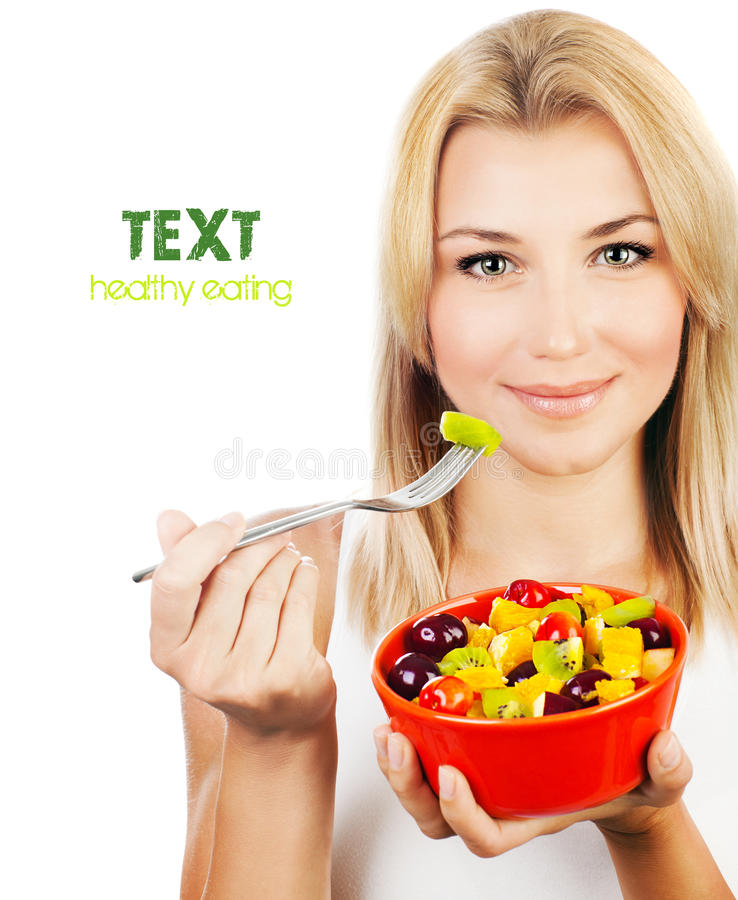 Download Pretty Girl Eating Fruit Salad Stock Image - Image: 26540019
