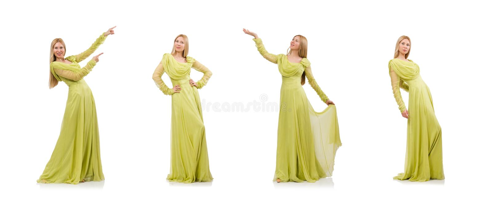 Pretty girl in elegant green dress isolated on white royalty free stock photography