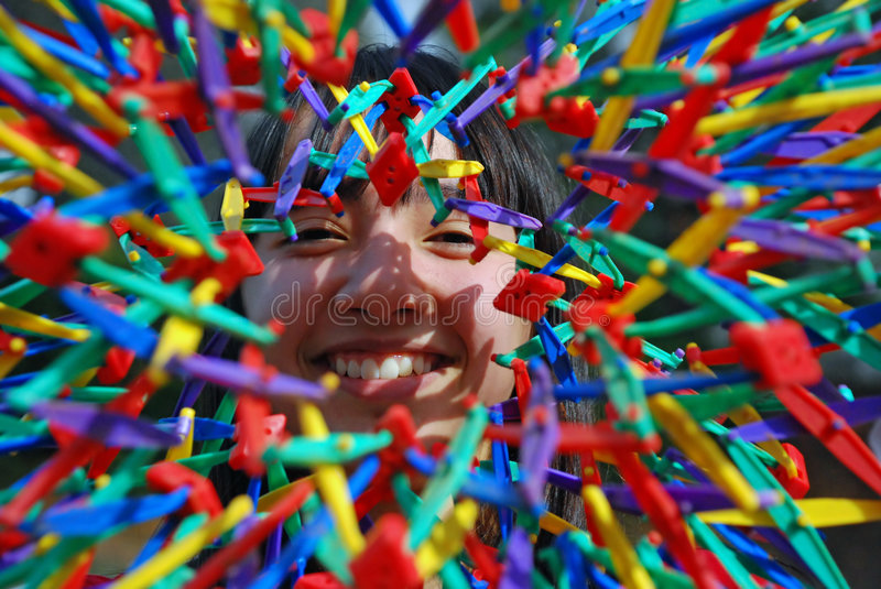 Pretty Girl Explosion of Color royalty free stock photo