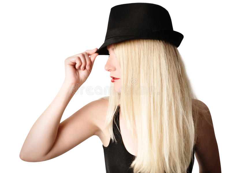 Pretty Girl with Fashion Hat and Hair on White stock photos