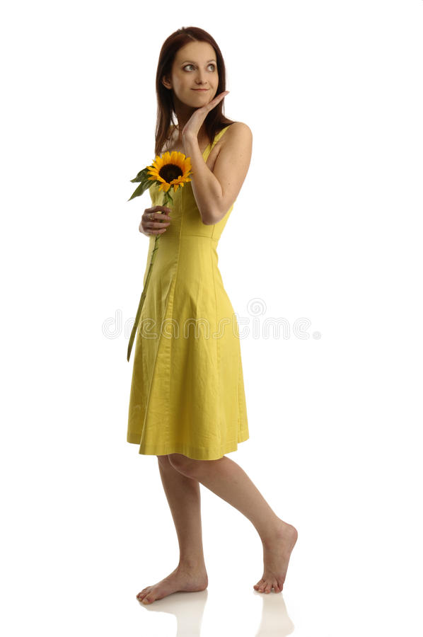 Pretty girl with flower royalty free stock photos