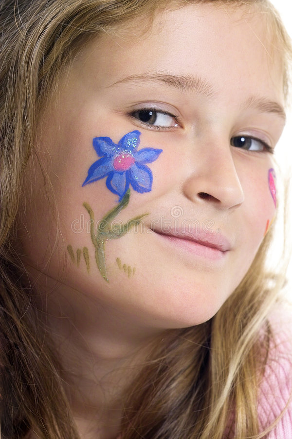 Pretty girl with flower butterfly make-up stock image