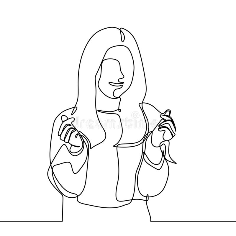 pretty girl giving korean love sign with her finger continuous one line drawing minimalism design royalty free illustration