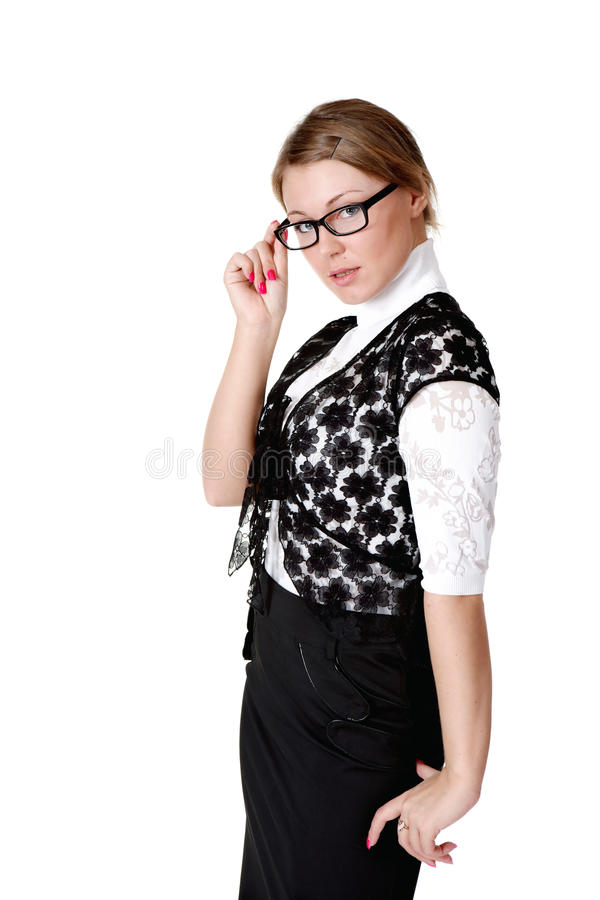 Download Pretty girl in glasses stock photo. Image of serious - 24915552
