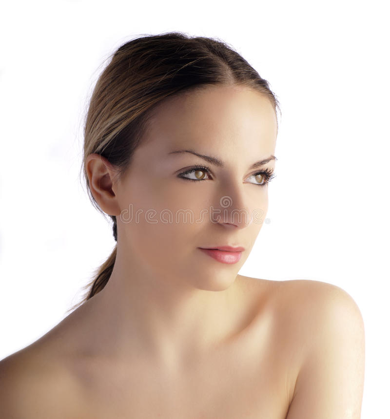 Pretty girl with hair pulled back stock photo