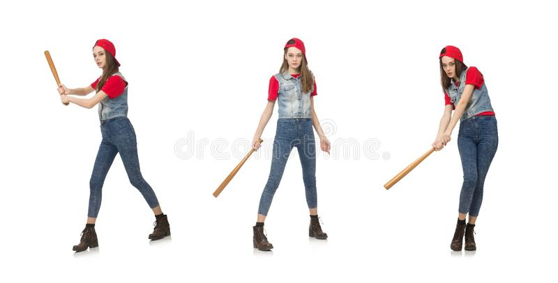 Pretty girl holding baseball bat isolated on white. The pretty girl holding baseball bat isolated on white stock image