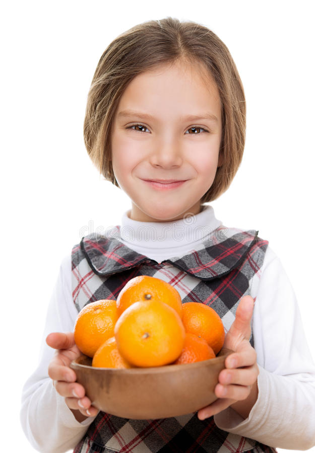 Pretty Girl Holding Bowl Of Ripe Royalty Free Stock Image