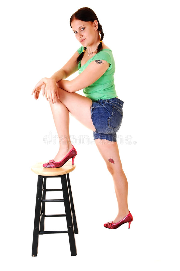 Download Pretty Girl In Jeans Shorts. Stock Image - Image: 11643203