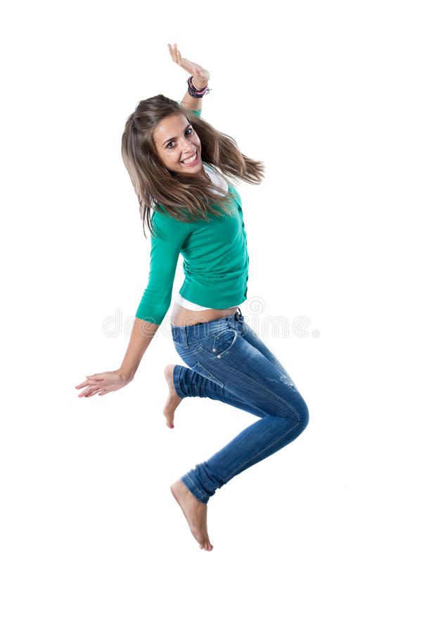 Pretty girl jumping. Isolated on a over white background royalty free stock photos