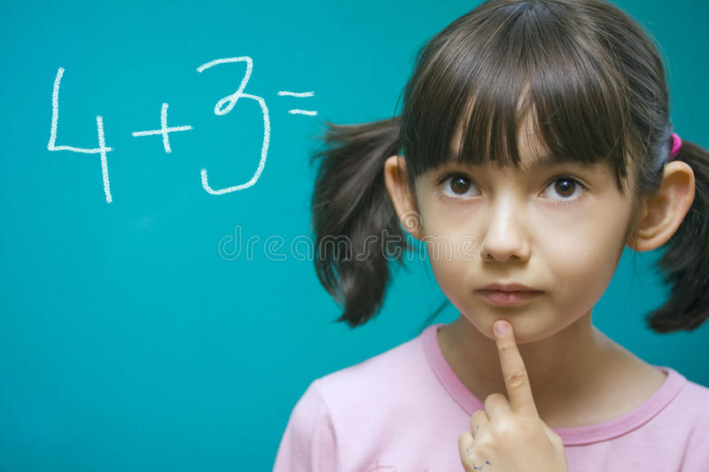 Download Pretty girl learning math. stock photo. Image of schoolroom - 10356126