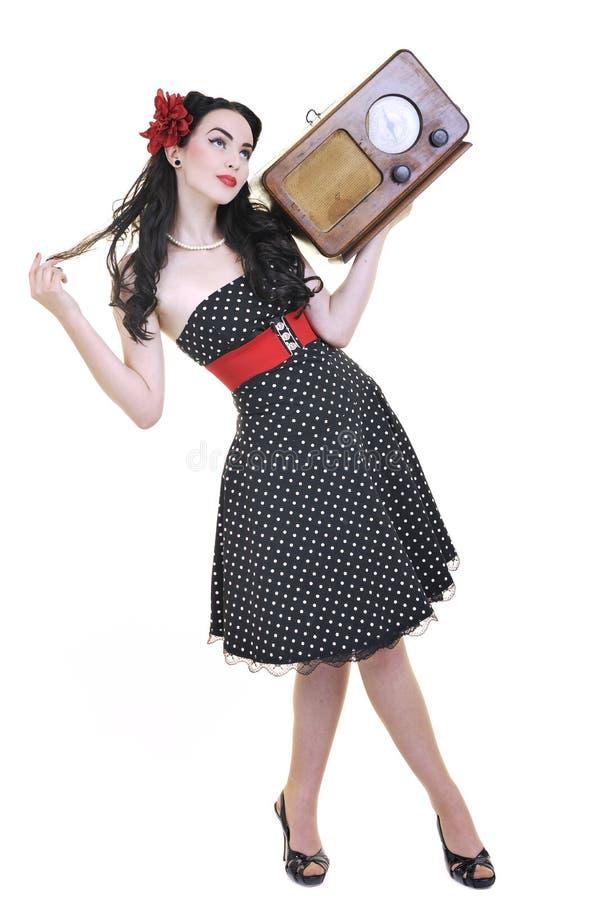 Free Pretty Girl Listening Music On Radio Stock Photos - 14676203