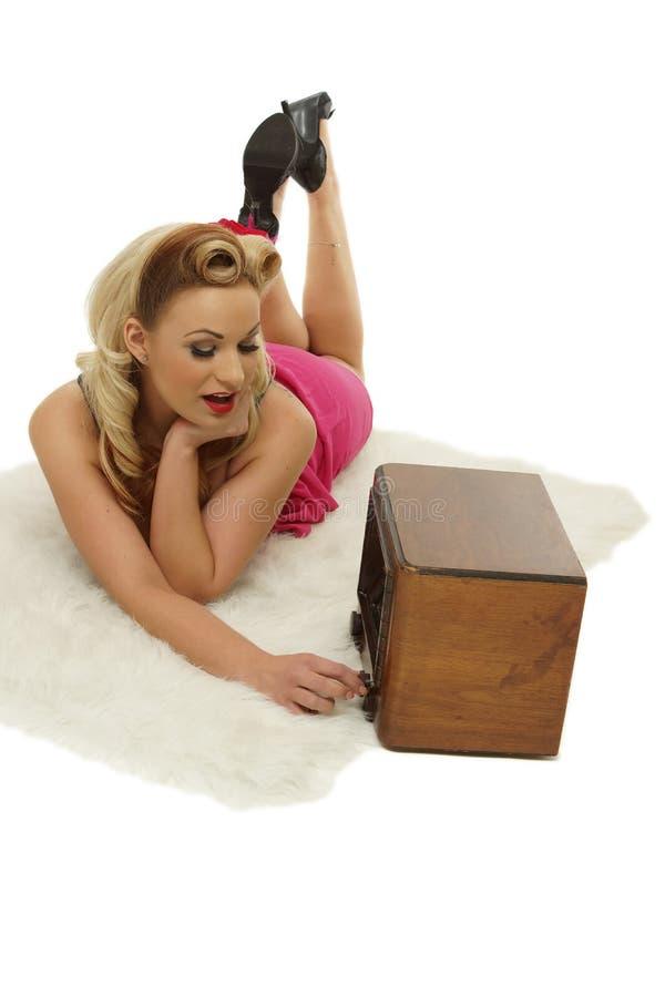 Free Pretty Girl Listening Music On Radio Stock Photography - 28405372