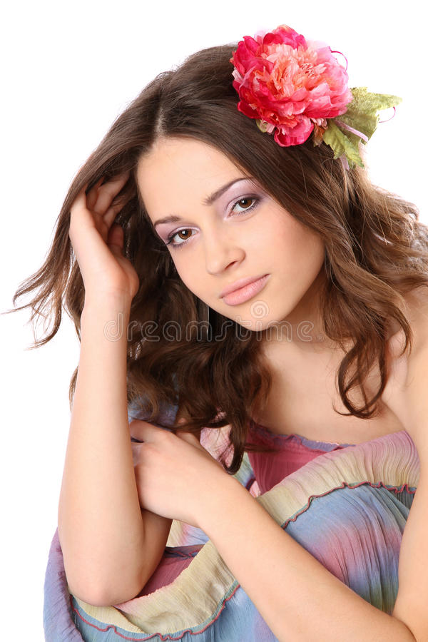 Download Pretty Girl With Long Hair And Flower-hairpin Stock Image - Image: 18203405