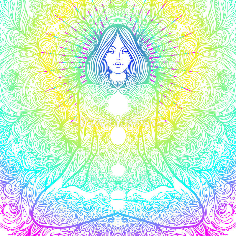 Pretty girl in lotus pose over ornate round mandala pattern. Yoga concept. Decorative design for cover, t-shirt, hippie poster, f royalty free illustration