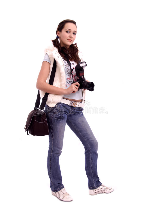 Pretty girl with modern photo camera and shoulder royalty free stock images