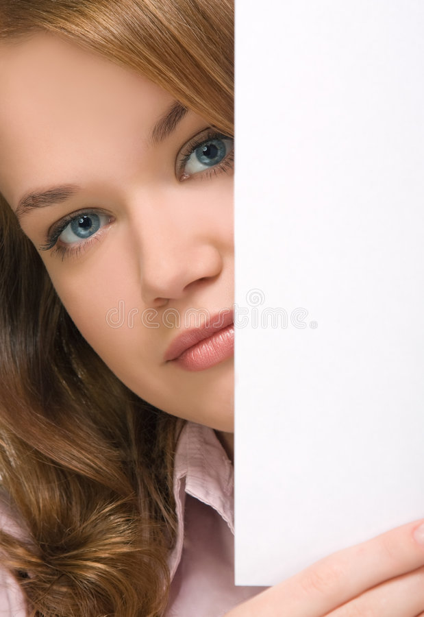 Download Pretty girl peering stock image. Image of cheerful, billboard - 8830019