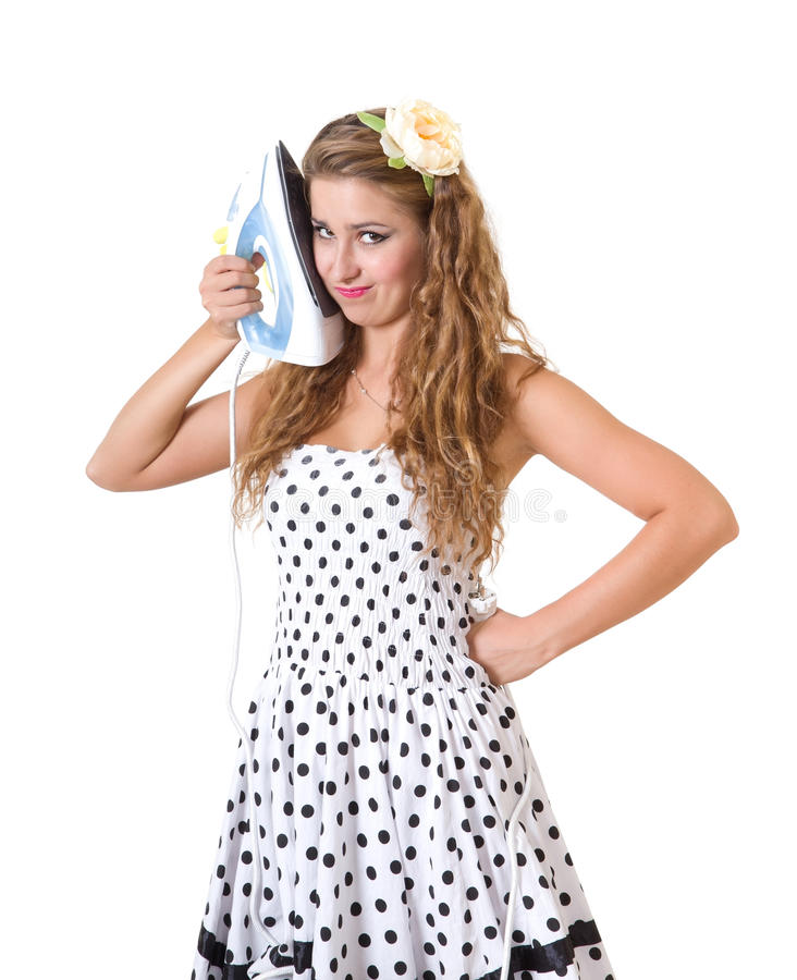 Download Pretty Girl In Pin-up Style Posing With Iron Stock Image - Image: 25951845