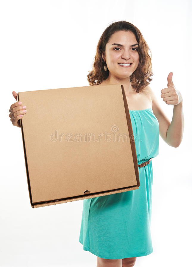 Pretty girl with pizza box stock images