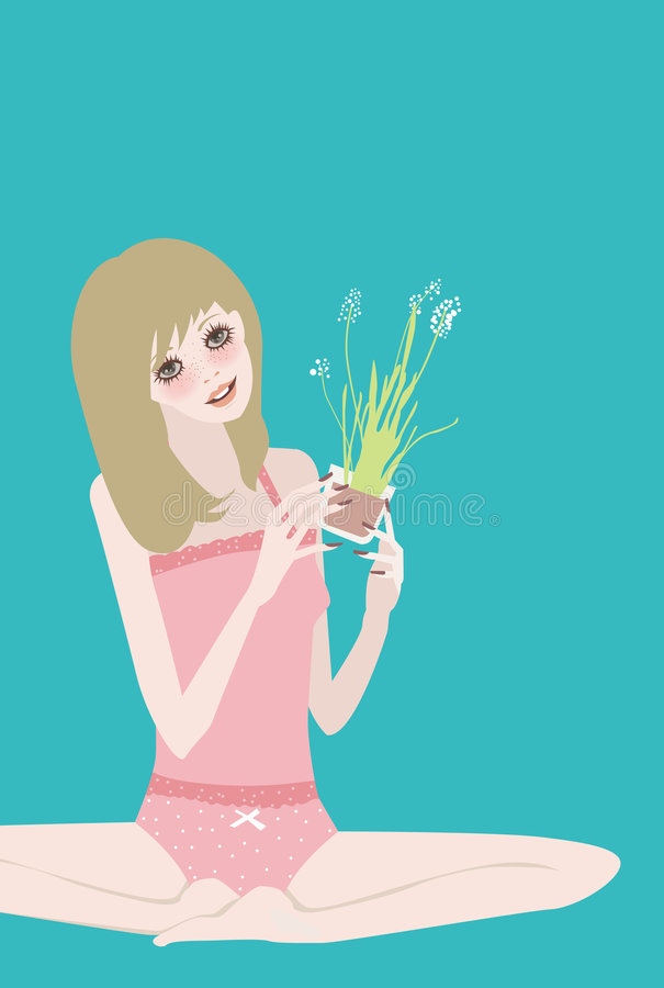 Pretty Girl With  Plants Royalty Free Stock Images
