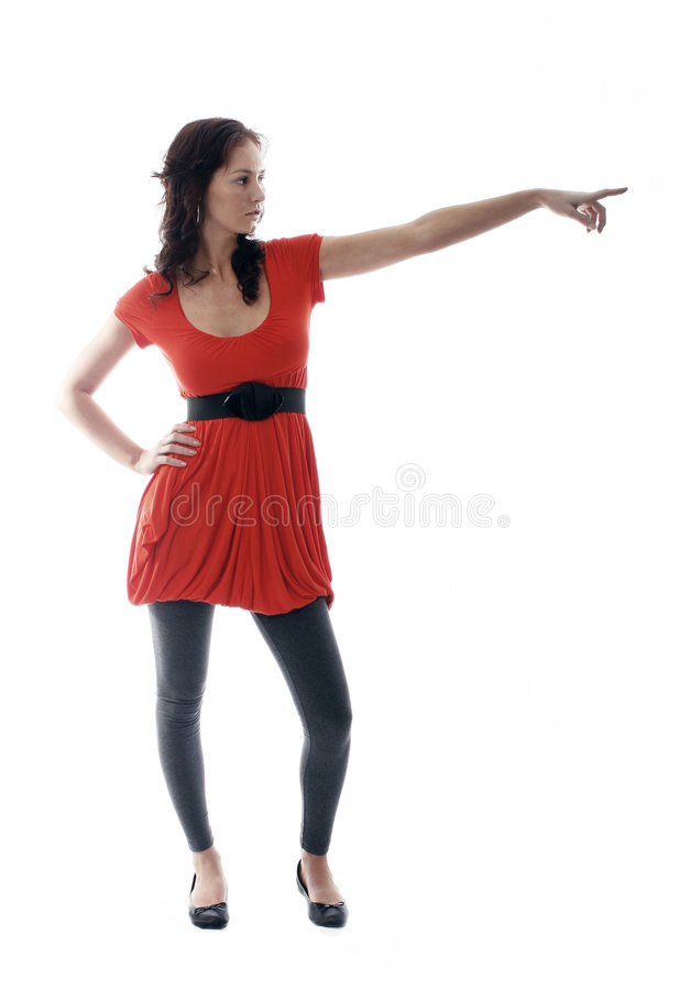 pretty girl pointing stock photography