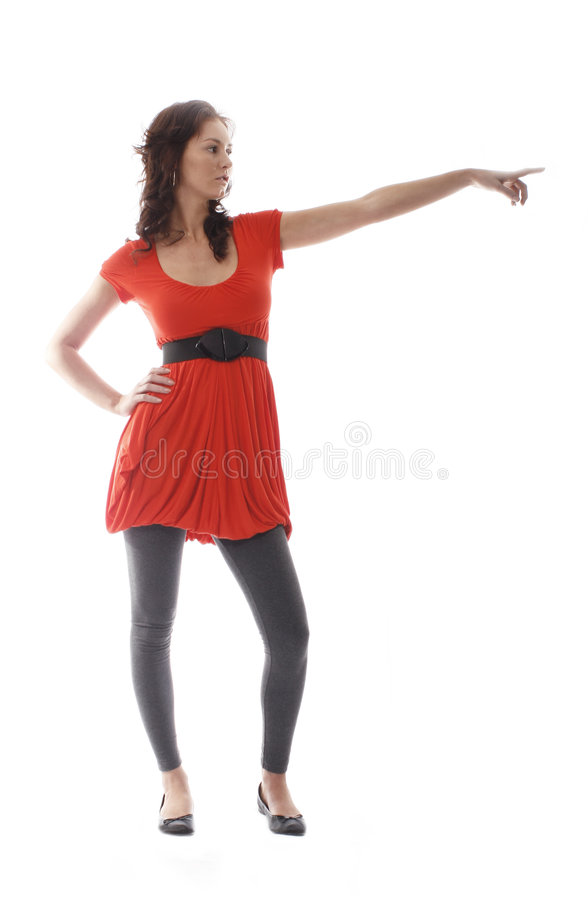 Download Pretty girl pointing stock image. Image of happy, girl - 3056879