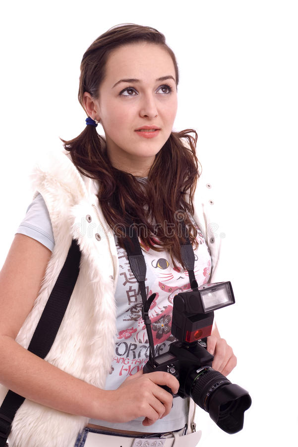 Pretty girl portrait with modern photo camera royalty free stock photography