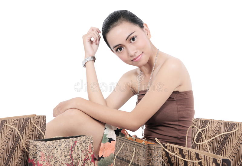 Download Pretty Girl Posing With Shopping Bags Stock Photo - Image: 31512574