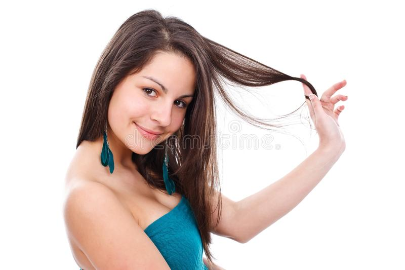 Pretty girl posing to camera royalty free stock images