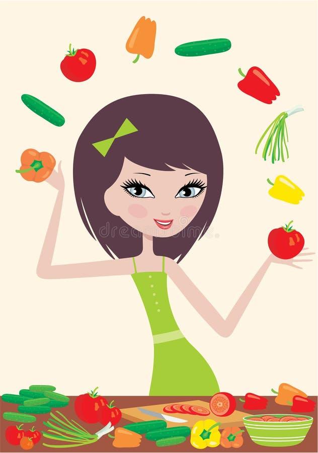 Free Pretty Girl Prepares Salad And Juggles With Vegeta Stock Image - 22079221
