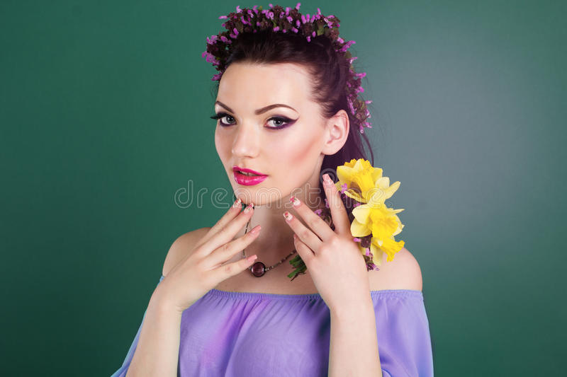 Beautiful Girl Holding Fashion Beauty Magazine Stock Image: Pretty Girl With Purple Flowers Wreath In Hair Stock Photo