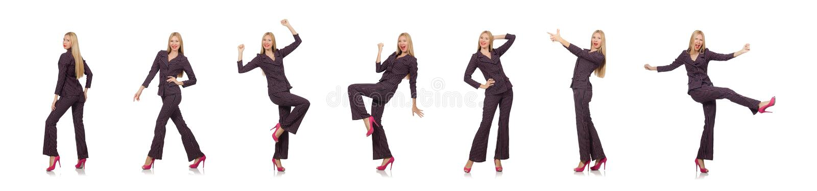 The pretty girl in purple retro suit isolated on white royalty free stock photography
