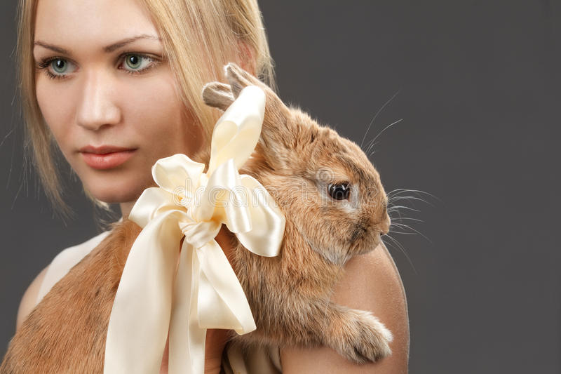 Pretty girl with a rabbit royalty free stock images