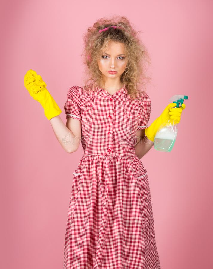 Pretty girl ready for housekeeping work. I am good at housekeeping.  royalty free stock image