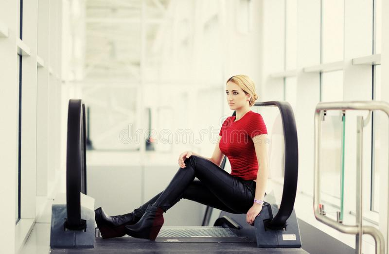 pretty girl in the airport stock photo