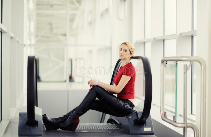 pretty girl in the airport royalty free stock photos