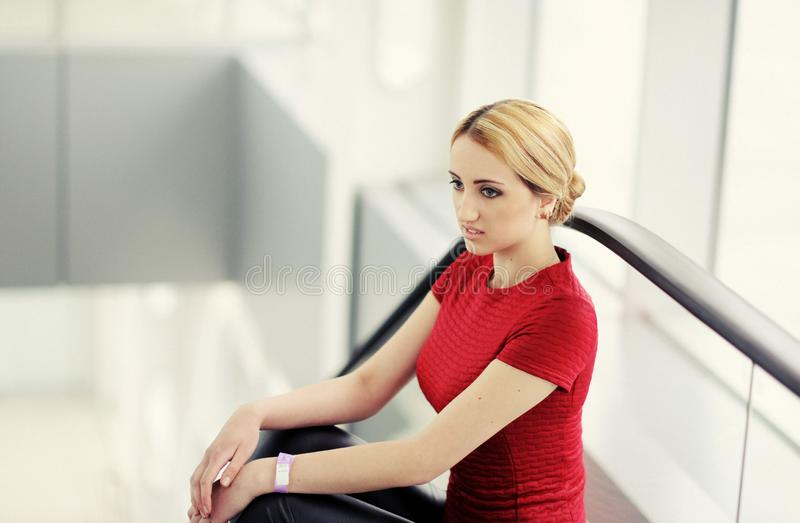 pretty girl in the airport stock photography