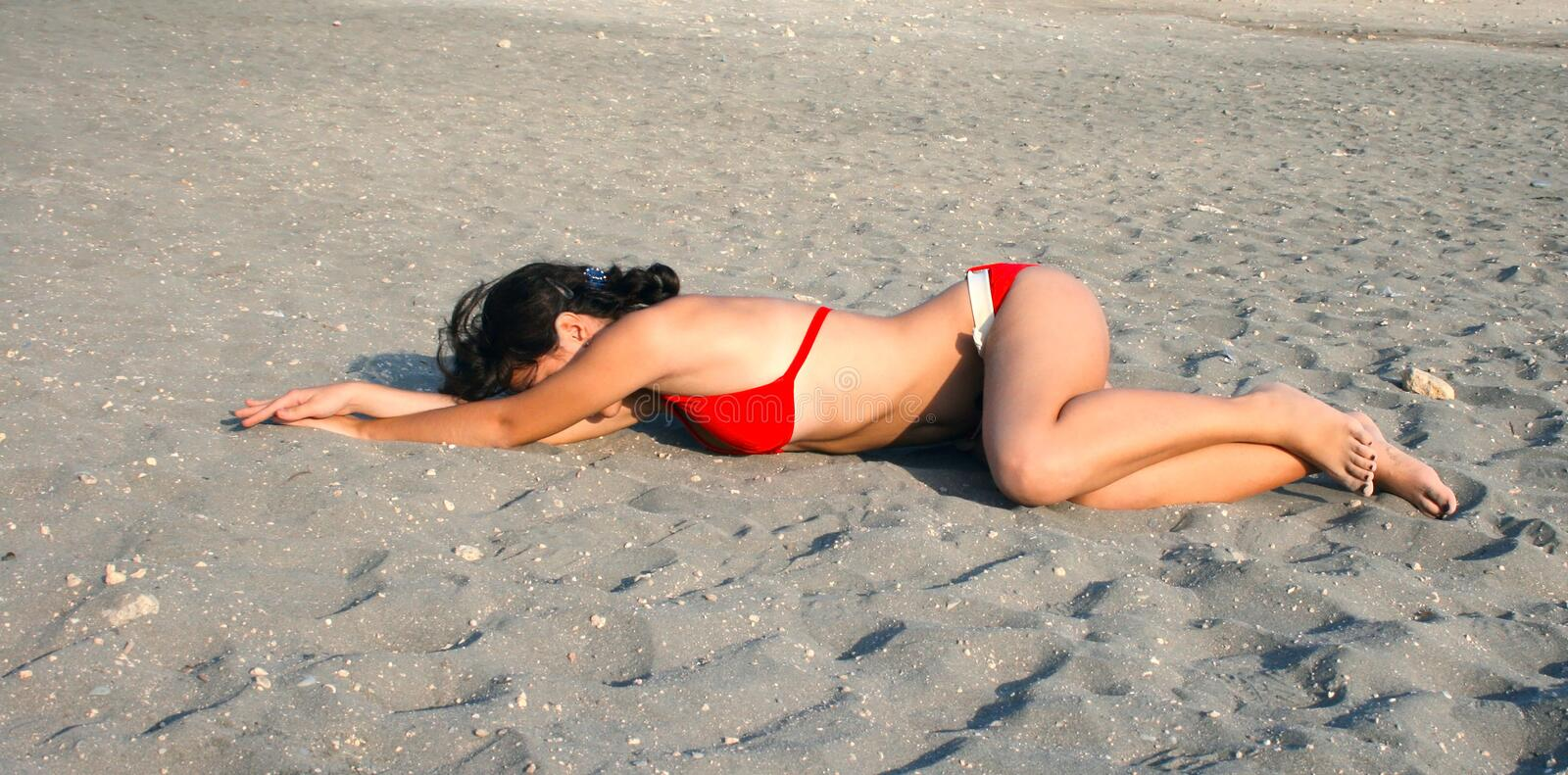 Download Pretty girl on sand stock image. Image of person, attractive - 12837519
