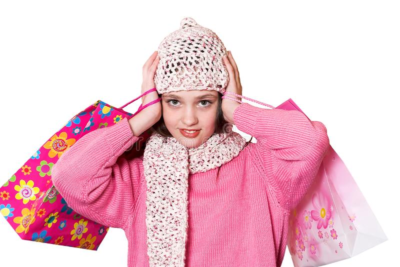 Pretty girl with shopping bags stock image
