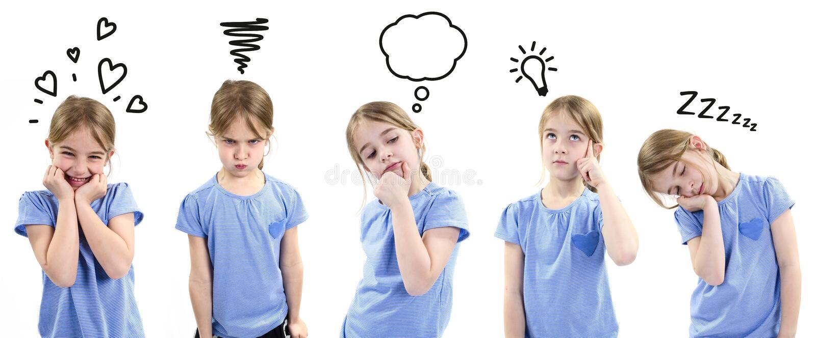 Girl showing different emotions stock images