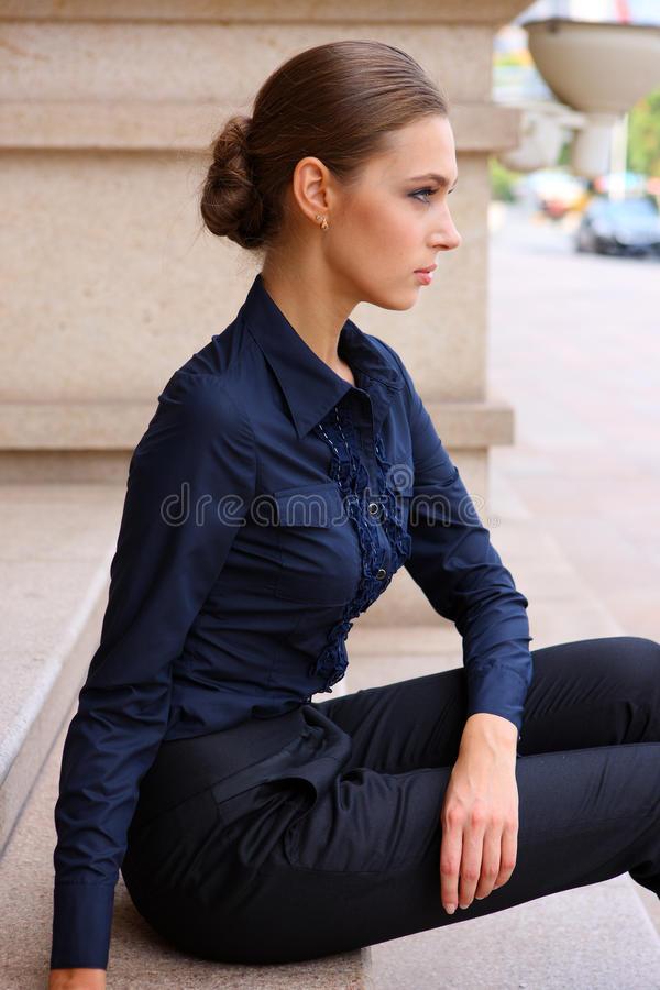Download Pretty Girl Sitting On The Steps Stock Image - Image of model, lonely: 23124667